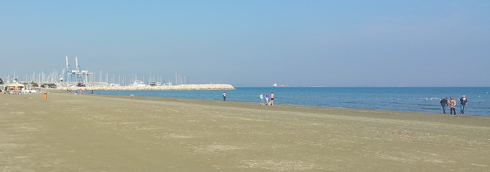 Fine weather to enjoy the beach at Palm Tree beach of Larnaca, Cyprus