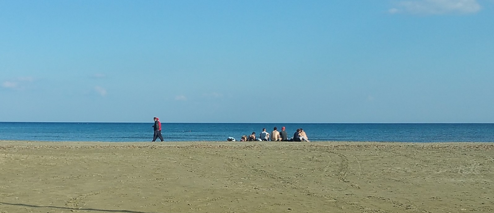 Fine weather at Larnaca beach on February