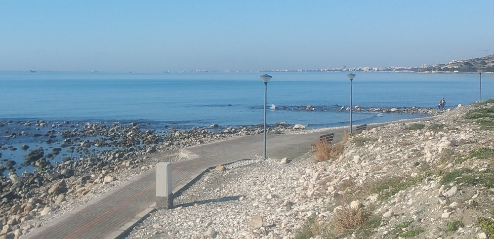 The coast of Limassol on a calm February day.