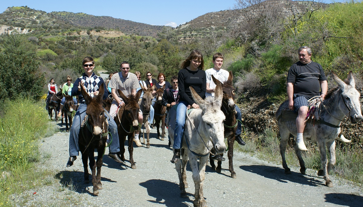 Donkey tour at the moutains of Paphos while enjoying a lovely March sunny weather.