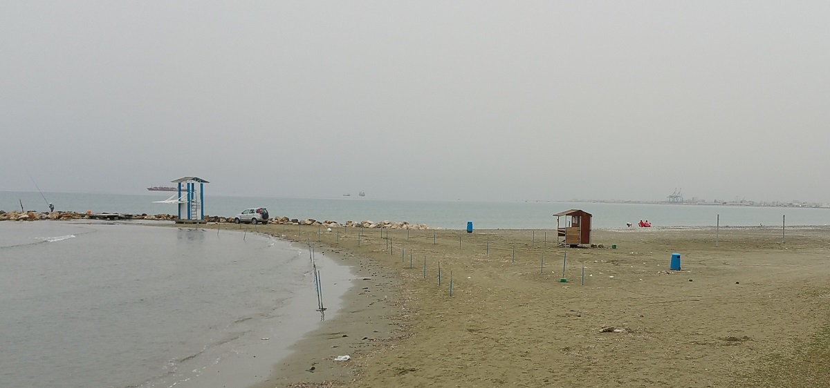Foggy weather at Larnaca Bay on March 2016