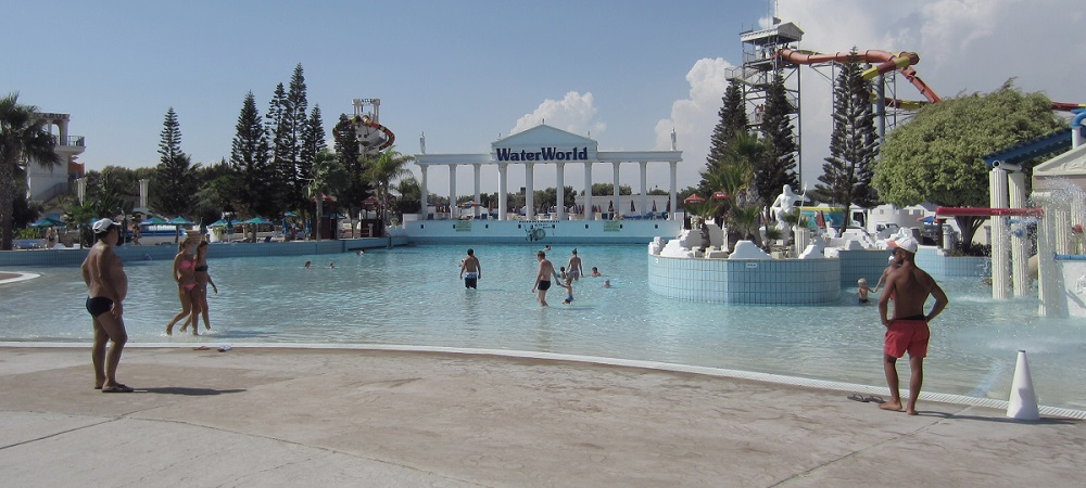 Nice weather at Ayia Napa waterpark on May