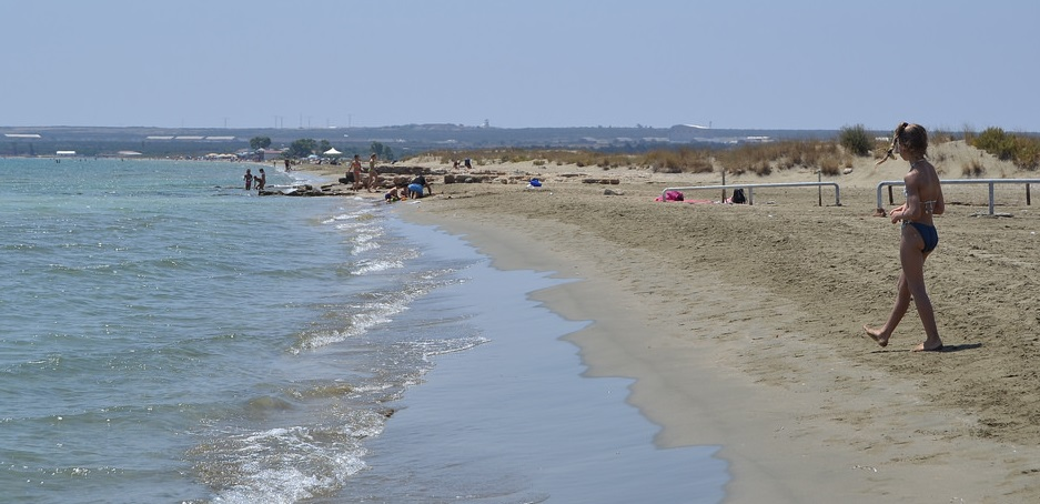 Sunny weather at Lady's mile beach at Limassol city in June