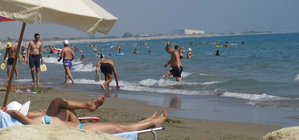 Limassol in June. Great weather for swimming at Kourion beach, Limassol, Cyprus