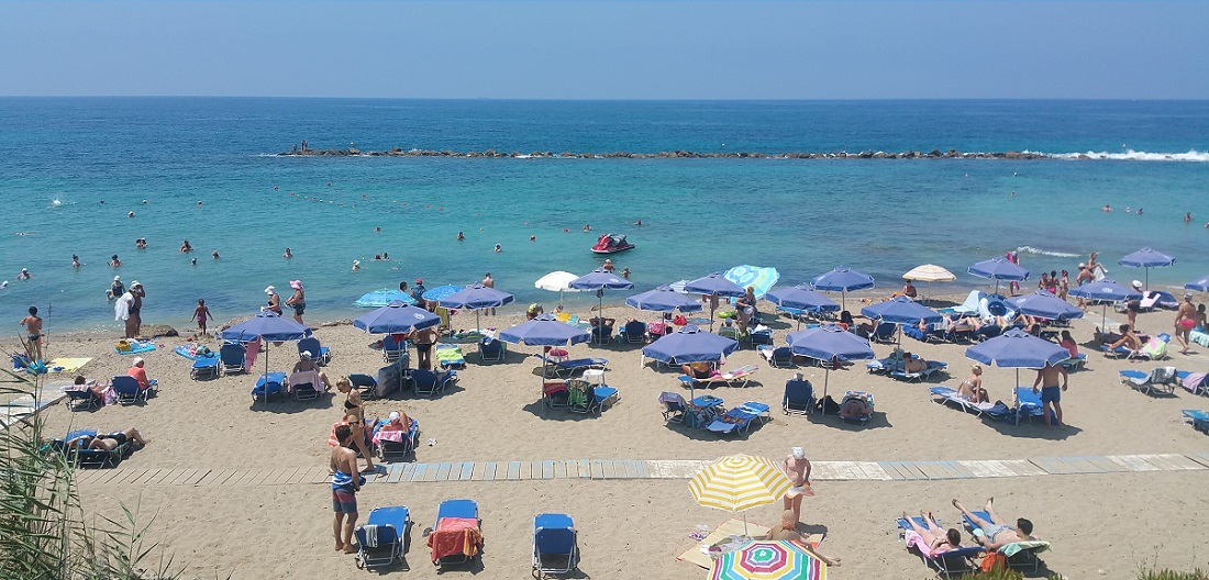 July weather at the beach in Paphos