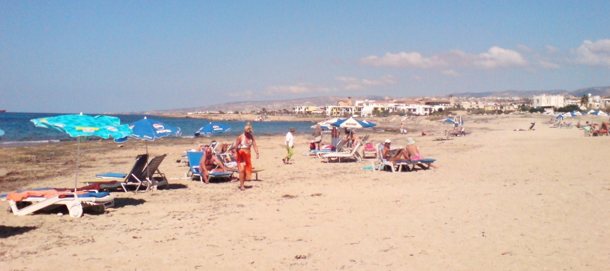 Faros beach in Paphos Cyprus with nice September weather