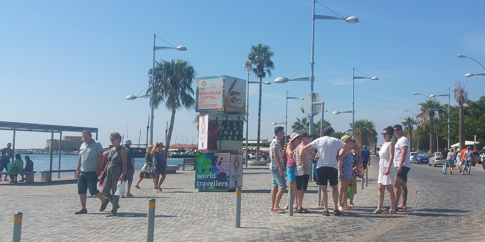 Visitors enjoying Kato Paphos harbour