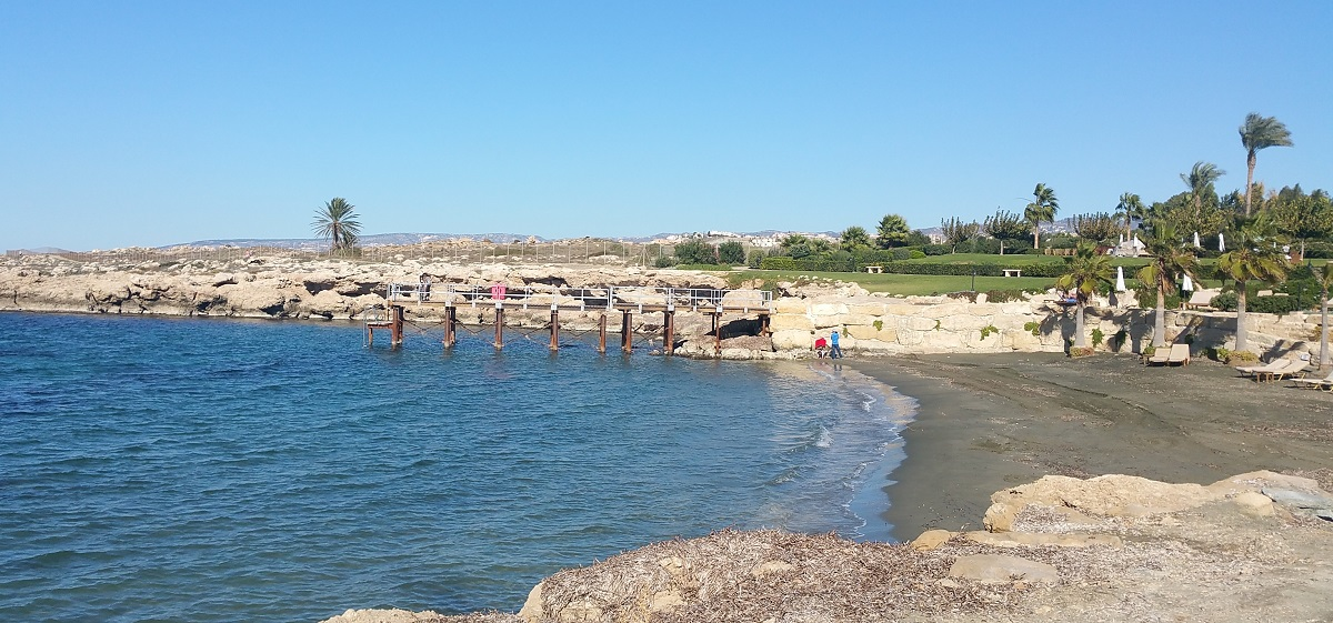 The beach of hotel Elysium at Paphos in December