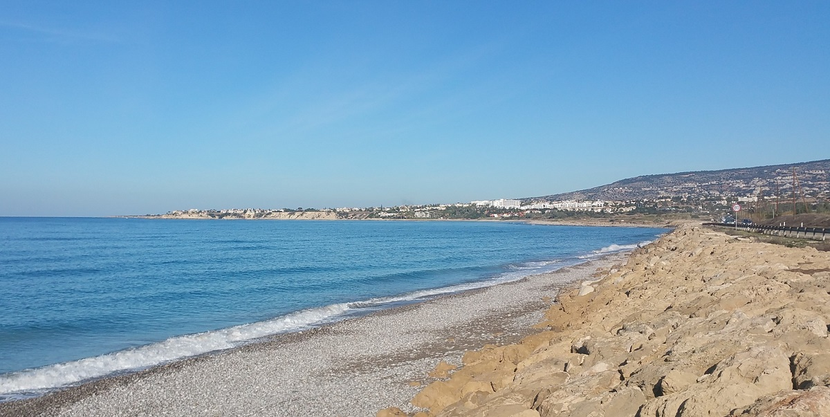 Calm see at Kissonerga, Potima beach Paphos in December